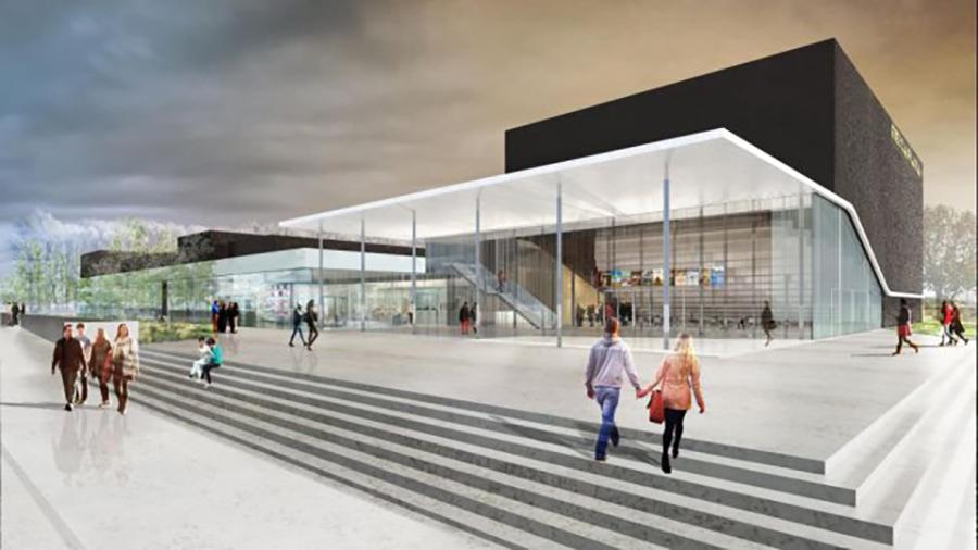 La façade du nouveau multiplexe Mégarama : 12 salles dont une de 421 places dotée d'un écran de plus de 20m de base et projection 4K